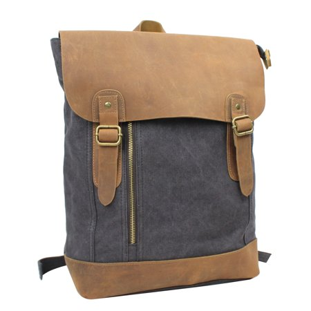 Gry Leather - Sport Cowhide Leather Canvas Backpack C20. GRY