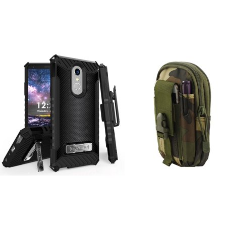 BC Military Grade [MIL-STD 810G-516.6] Kickstand Belt Holster Case (Dark Carbon) with Jungle Camo Tactical EDC MOLLE Utility Waist Pack Holder Pouch, Atom Cloth for LG Stylo 4+ Plus/LG Stylo 4 (2018) (Carbon Fiber Canoe Paddles)