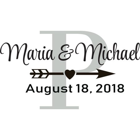 "Personalized Custom Wedding Stickers (Personalized Name Vinyl Decal Sticker Custom Wall Art Personalization Decor Love Quote Marriage Married Family Engagement Wedding 12 X 14"")"