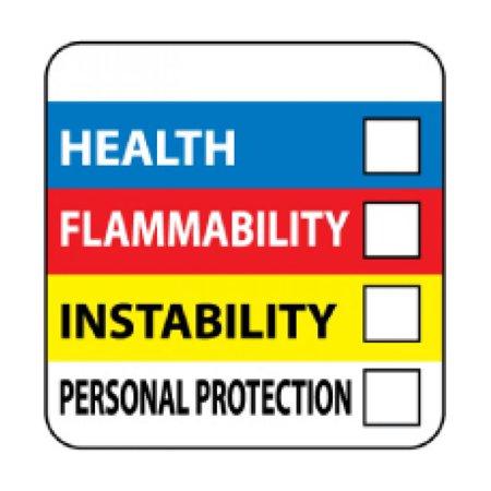 NMC Signs Hm27Alv, Write On Color Bar Right-To-Know Label, 4 X 4, Pressure Sensitive Vinyl
