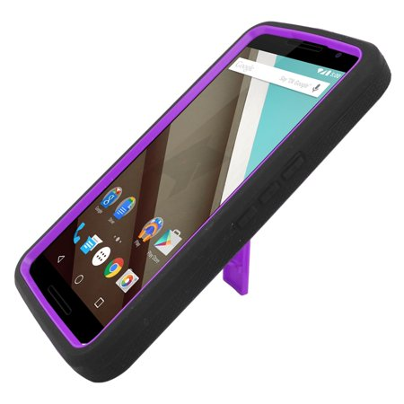 Insten Symbiosis Rubber Dual Layer Hard Case with stand For Motorola Google Nexus 6 - Black/Purple - image 2 de 4