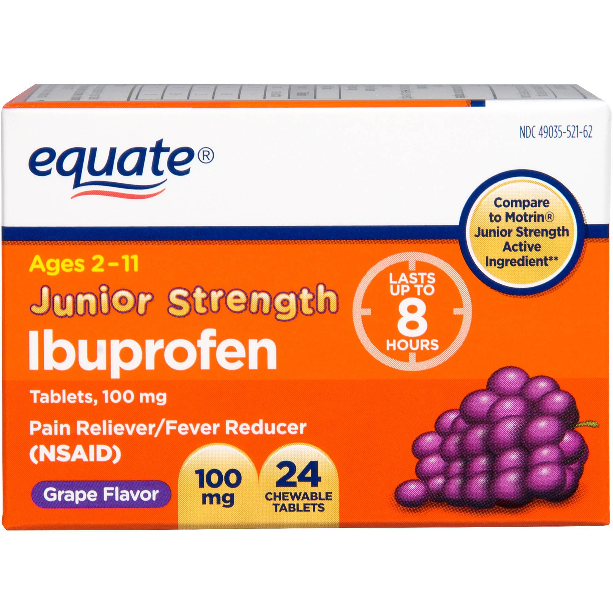 Equate Children's Ibuprofen Chewable Grape, 24 count