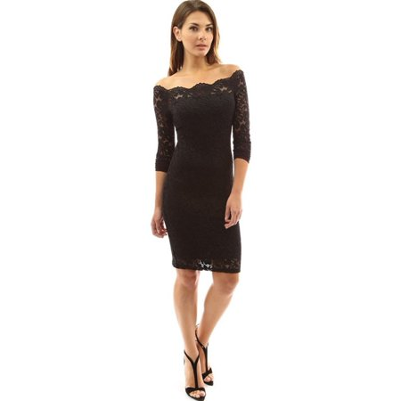 Women Lace Sexy Off Shoulder Knee Length Dress Long Sleeve Party Sheath Dress