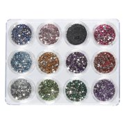 Nail Rhinestone - 6000 Piece Nail Crystal Gems, Glitter Nail Jewels, Nail Art Accessories for Decorations, Makeup, DIY, and Crafts, 12 Colors