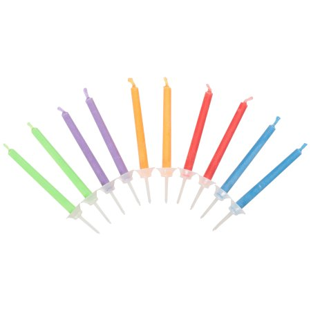 Color Flame Birthday Candles and Holders, Assorted, 10ct