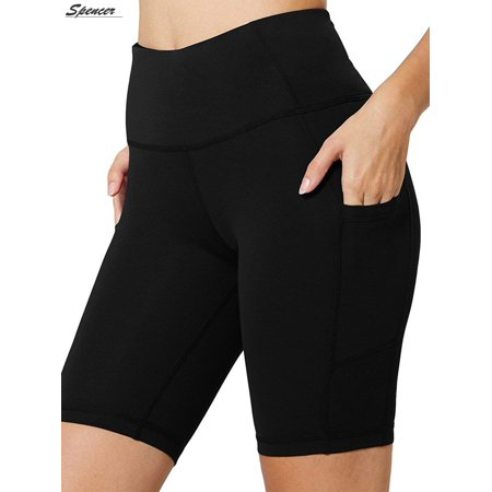 "Spencer Womens High Waist Yoga Shorts with Side Pockets Tummy Control Workout 4 Way Stretch Yoga Leggings ""Size M"""