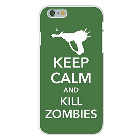 Apple iPhone 6 Custom Case White Plastic Snap On - Keep Calm and Kill Zombies w/ Gun - Gun Zombie Halloween Iphone