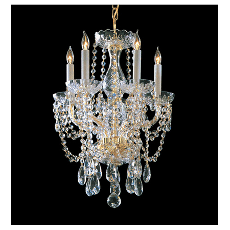 Mini Chandeliers 5 Light With Polished Brass Clear Swarovski Strass Crystal Glass 14 inch 300 Watts - World of Lighting