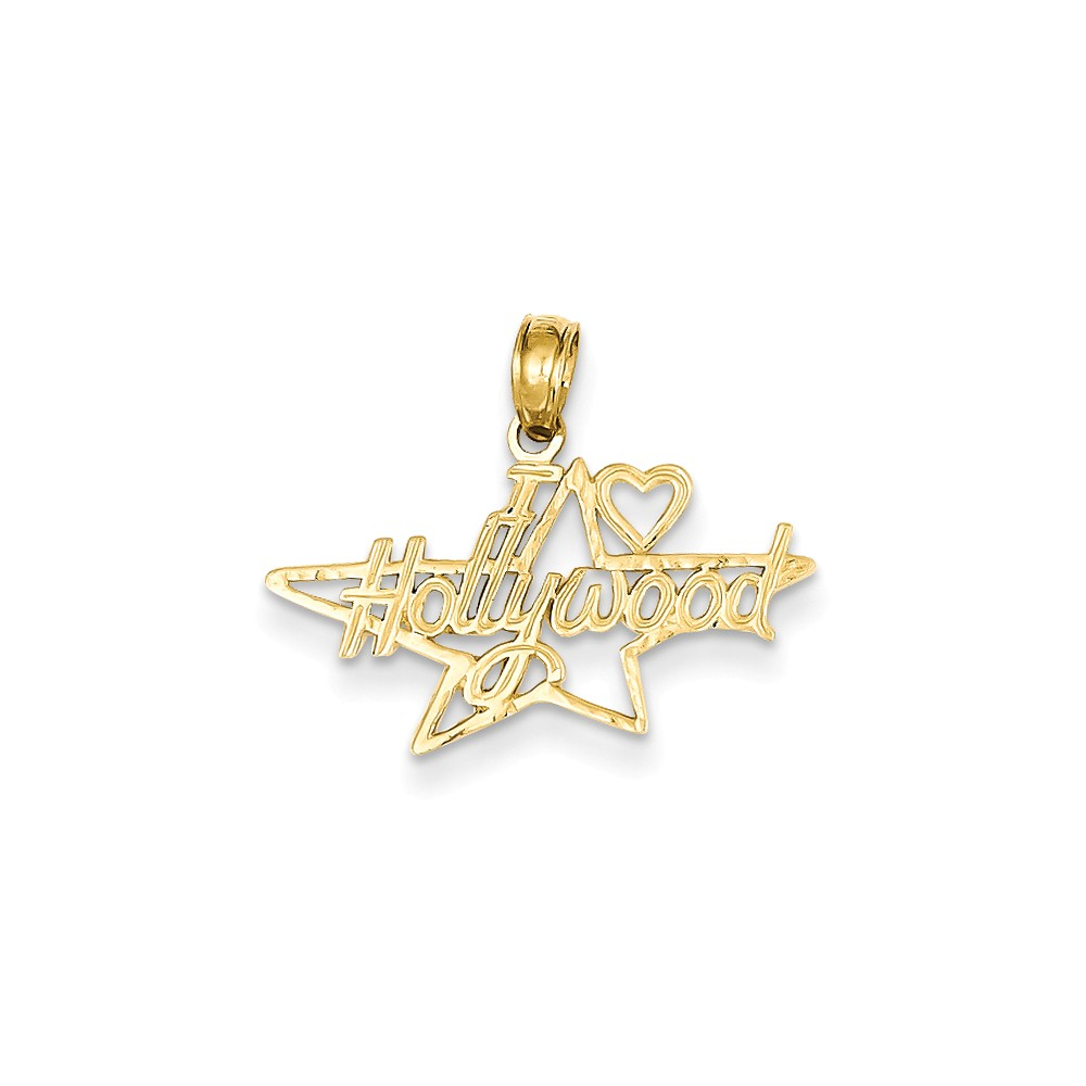 14k Yellow Gold I Heart Hollywood Star Pendant