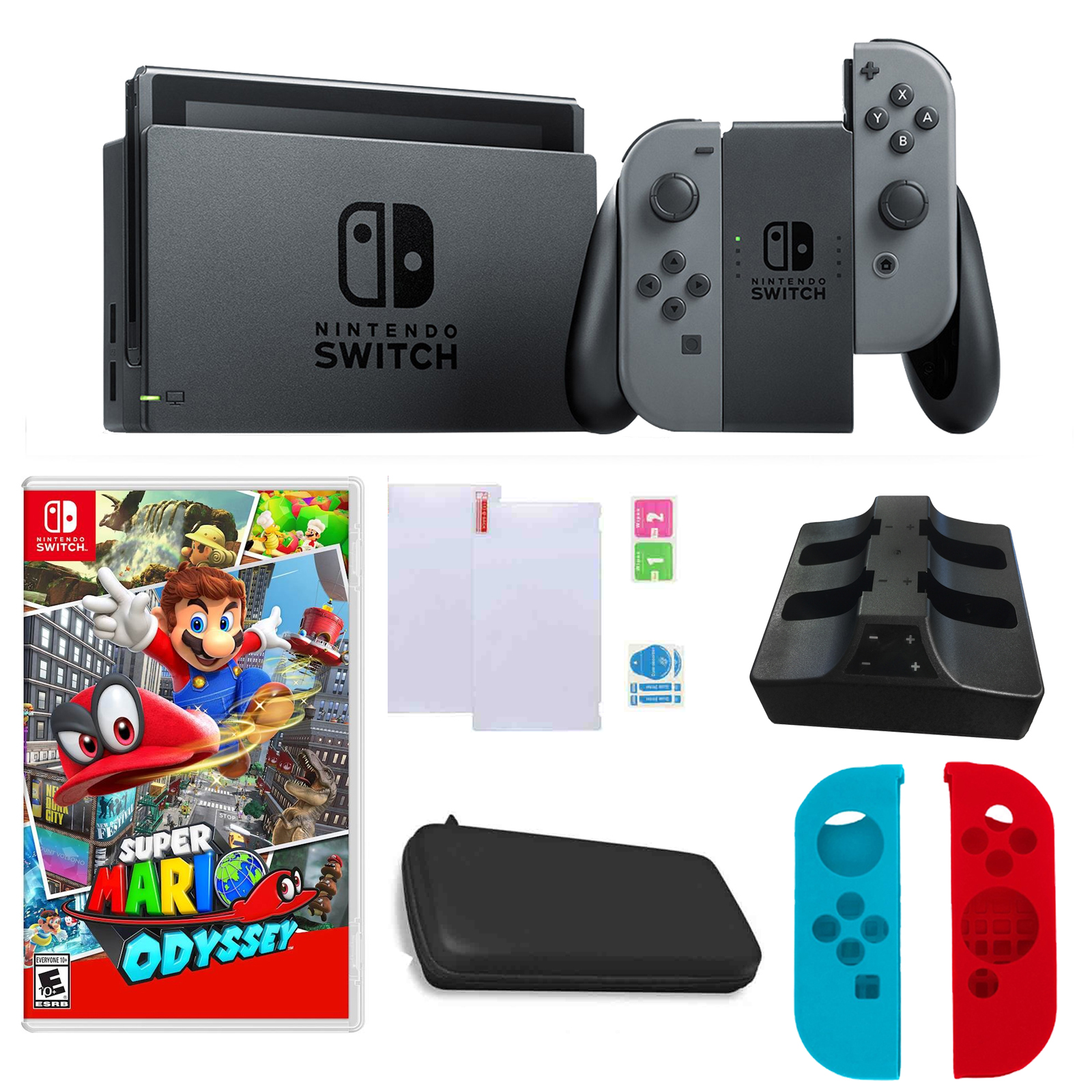 Nintendo Switch in Gray with Mario Odyssey Game and Accessories Bundle