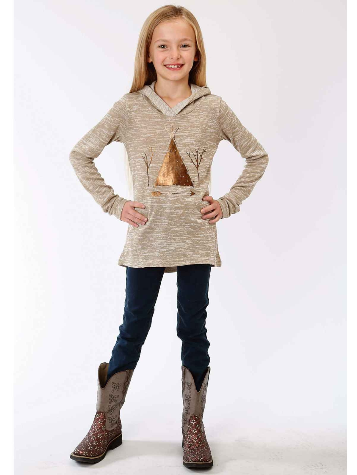 Roper 0513 Girl's Poly Cotton Sweater Hooded Top Tan