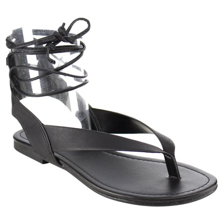 a0df98521eea6 Soda IA41 Women s Lace Up Strappy Cutout Back Flat Thong Sandals ...