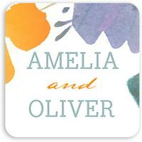 Artistic Floral - Personalized 1.75 x 1.75 Square Seal Sticker