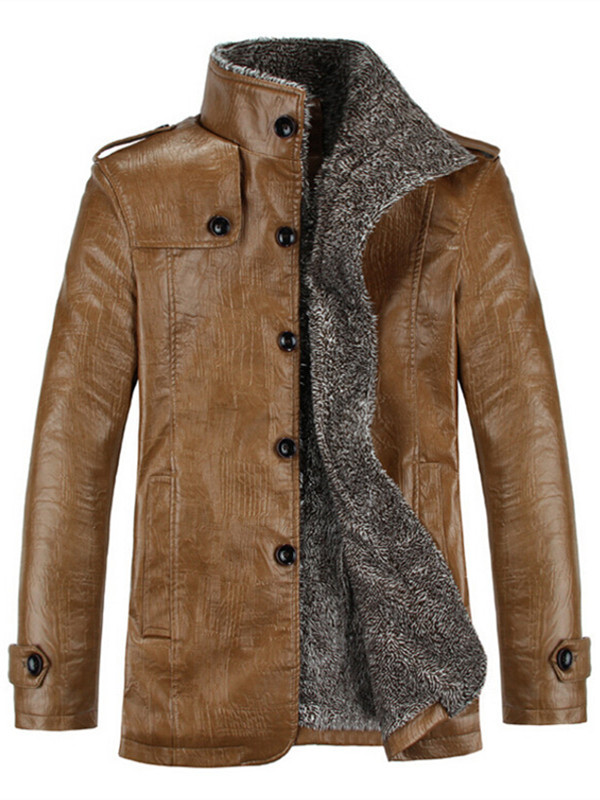 This button opens a dialog that displays additional images for this product with the option to zoom in or out. PODOM - Men\u0027s Thick PU Leather Button Winter Fashion Trench Coats