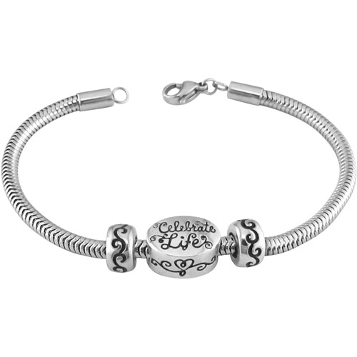 """Connections from Hallmark Stainless-Steel """"Celebrate Life"""" Starter Bracelet, 7.25"""", 7.75"""" or 8.25"""""""