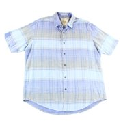 Tasso Elba NEW Blue Grey Men Size Large L Plaid Woven Button Down Shirt