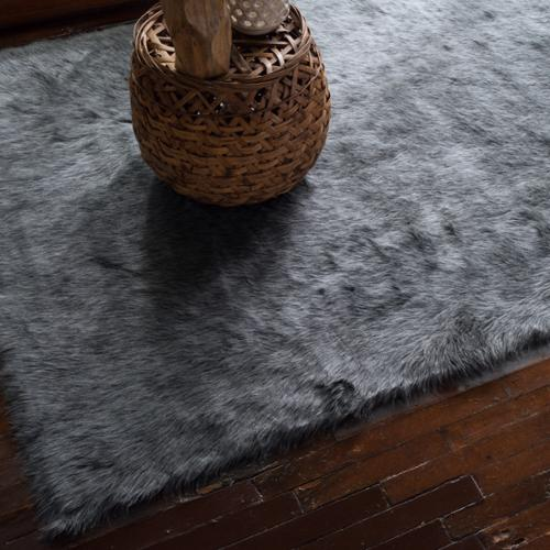 Alexander Home Faux Sheepskin Grey Graphite Shag Area Rug - 2' X 3'