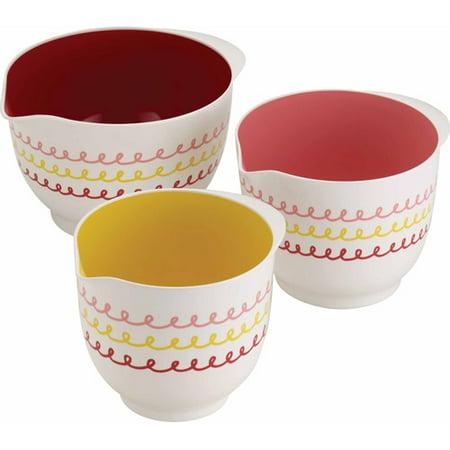 Cake Boss Countertop Accessories 3-Piece Melamine Mixing Bowl Set, â Icingâ Pattern, Print