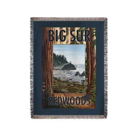 Big Sur, California - Trees & Ocean Scene - Lantern Press Poster (60x80 Woven Chenille Yarn Blanket) (Big Toy Store Scene)