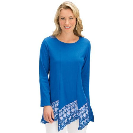 women's feminine lace trimmed tunic top, long sleeve, scoop neck, medium, royal (Lace Trim Scoop Neck Tee)