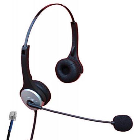 Voistek A2H20DCIS Dual Ear Call Center Telephone Headset with Noise Canceling Microphone for Plantronics M10 M22, AT&T CallMaster V VI & Cisco 7931G 7940G 7941G 7942G 7945G 7960G 7961G 7962G 7965G 797
