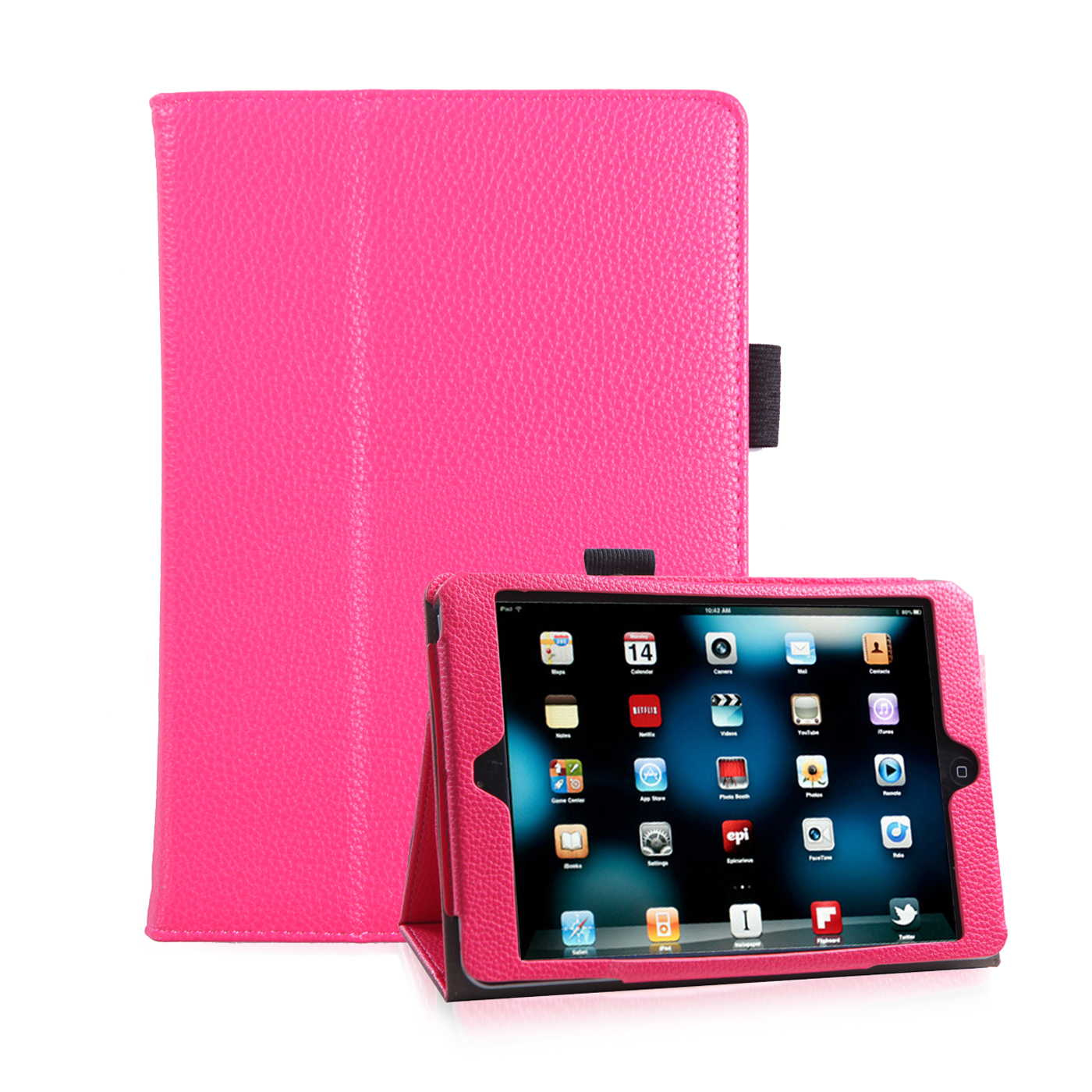 HDE iPad Mini 1 2 3 Case - Ultra Slim Fit Light Weight Folding Leather Hard Cover Stand with Auto Wake Sleep for Apple iPad Mini 1 2 3 Retina Display + 3 Pack Screen Protector (Pink)