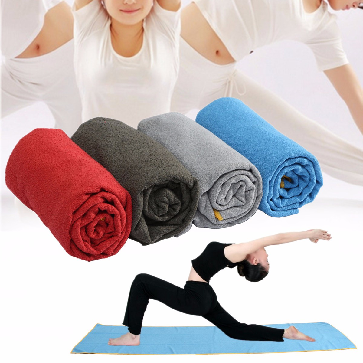 72.05x24.80'' Non-Slip Soft Microfiber Travel Exercise Fitness Yoga microfibertowel Mat Cover Towel Blanket with Carry Bag 183x63cm