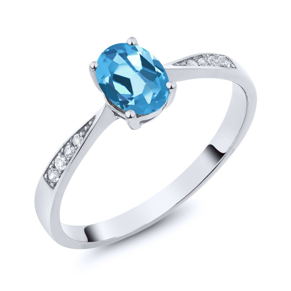 10K White Gold Diamond Ring with 0.91 Ct Oval Swiss Blue Topaz by