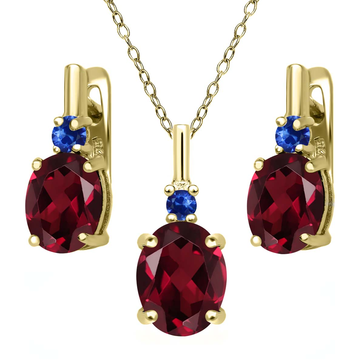 6.68 Ct Red Rhodolite Garnet Blue Sapphire 18K Yellow Gold Plated Silver Pendant Earrings Set by