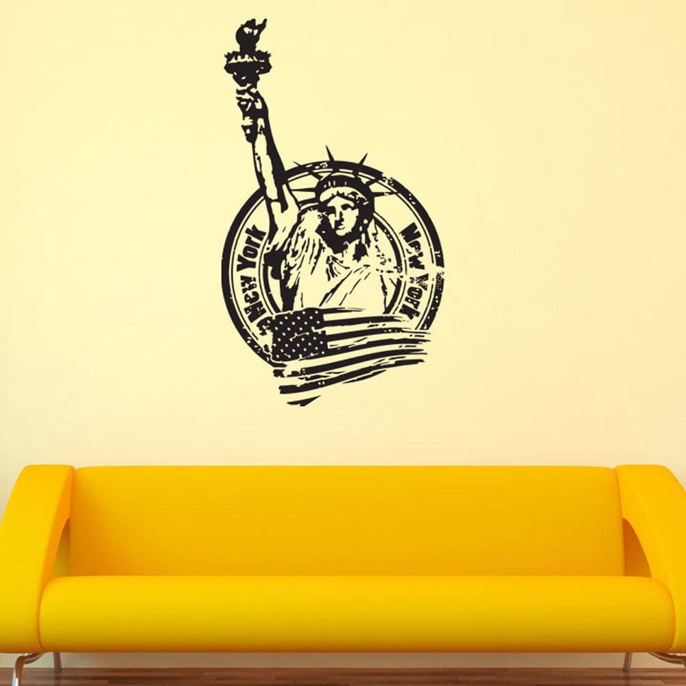 New York World City Vinyl Wall Art 18in x 31in Brown