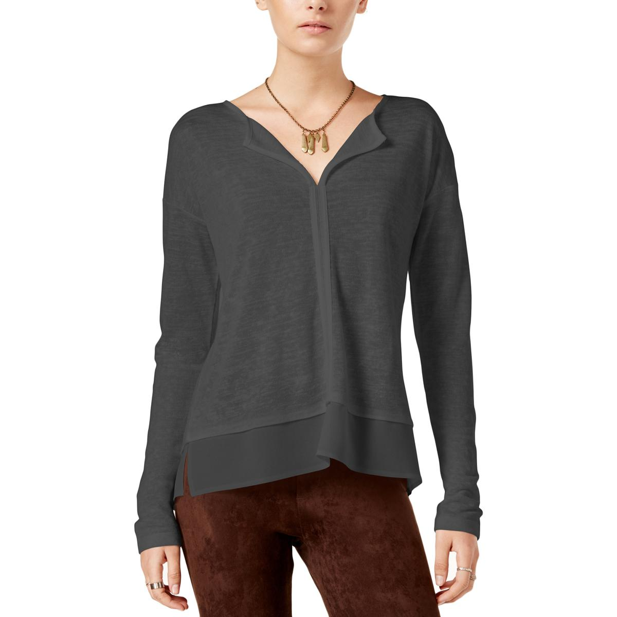 Sanctuary Womens Hanna Knit Split Collar Pullover Top