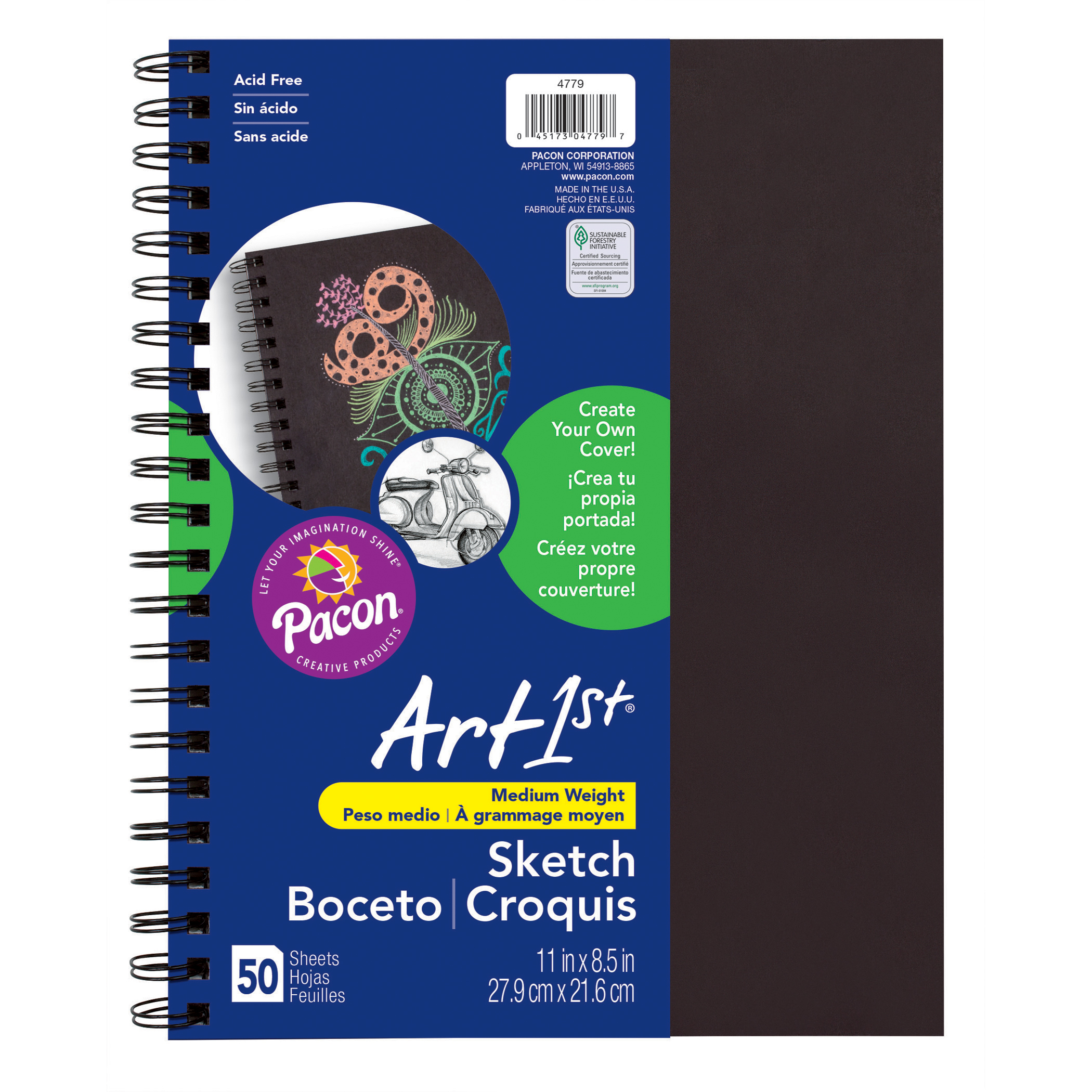 """Art1st® Create Your Own Cover Sketch Diary, 11"""" x 8.5"""", Black, 3/pkg"""