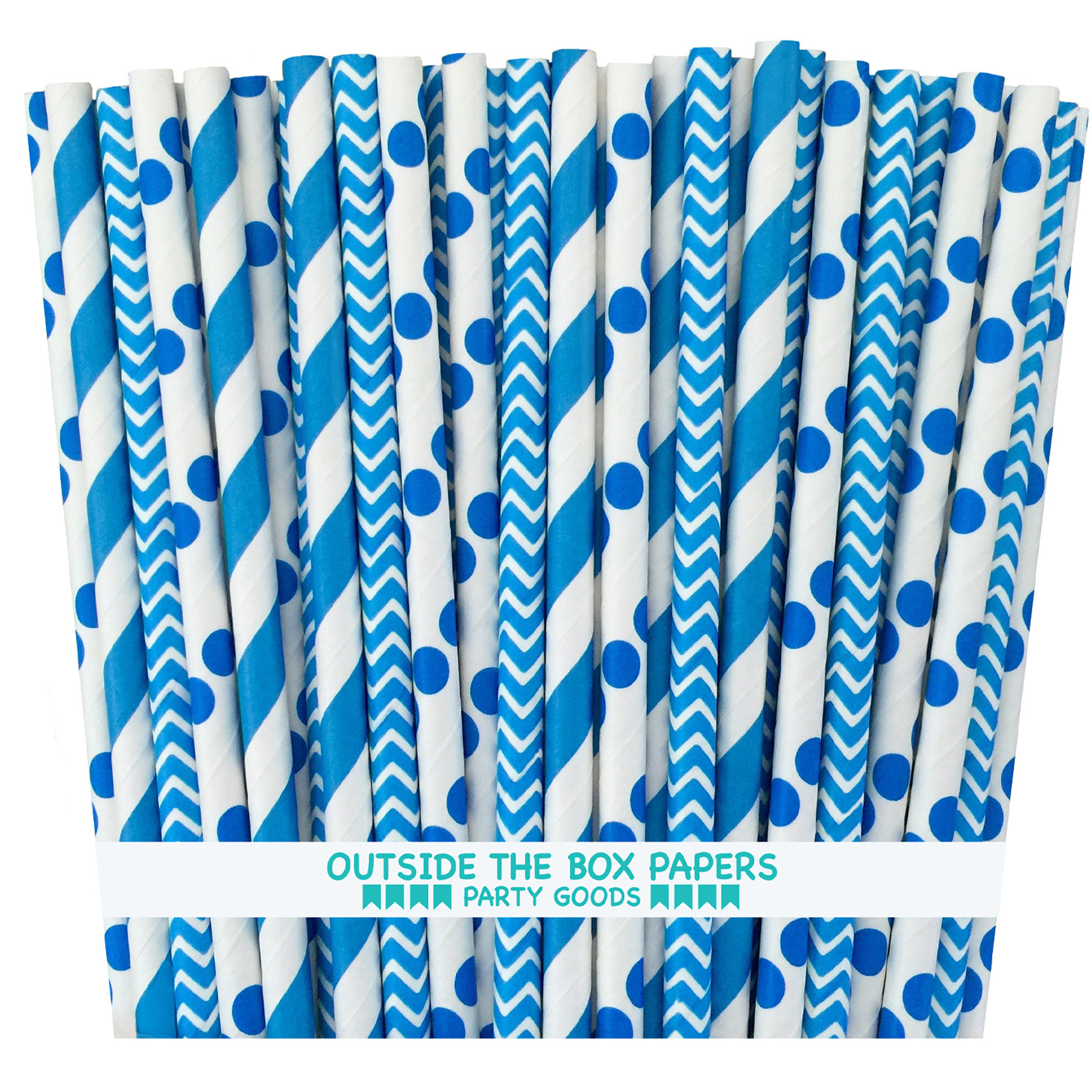 Blue Stripe, Chevron and Polka Dot Paper Straws - 75 Pack