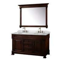 Wyndham Collection Andover 60 inch Double Bathroom Vanity in Dark Cherry, White Carrera Marble Countertop with Mirror