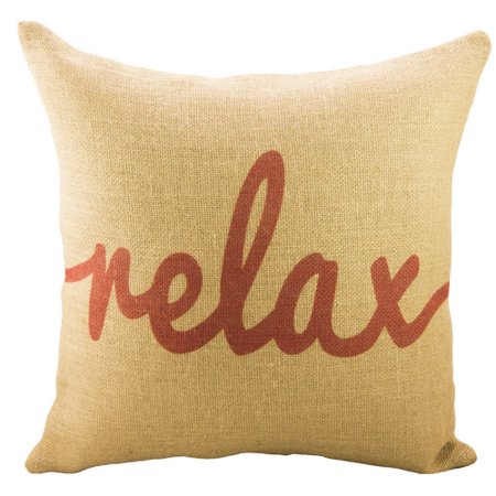 Throw Pillows That Say Relax : TheWatsonShop Relax Burlap Throw Pillow - Walmart.com
