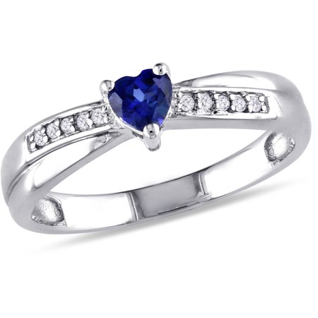 1/4 Carat T.G.W. Created Blue Sapphire and Diamond-Accent Sterling Silver Heart Ring ()