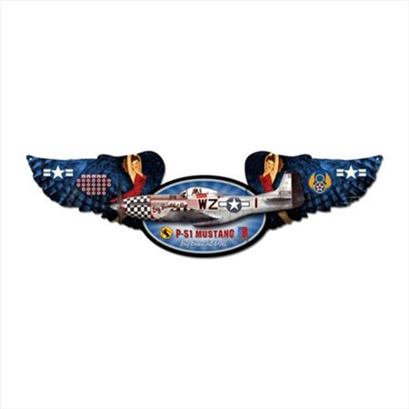Mustang Aviation Winged Oval Metal Sign - image 1 de 1