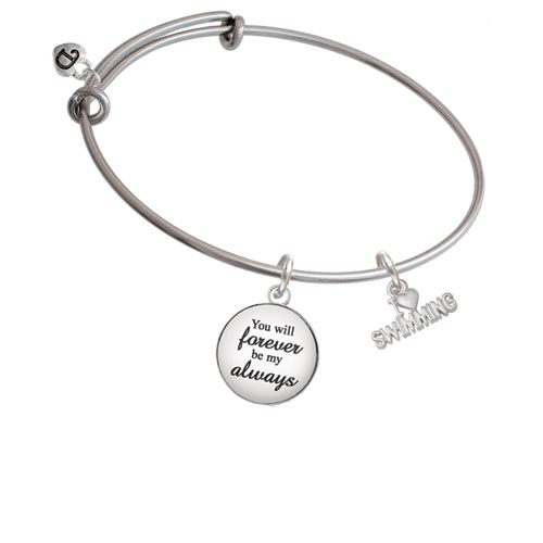 I Heart Swimming Forever My Always Bangle Bracelet by Delight and Co.
