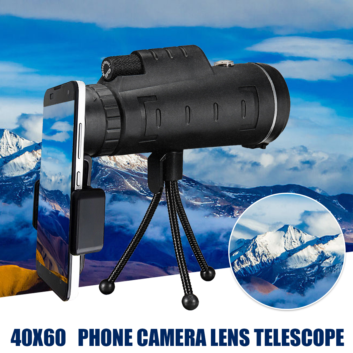 Waterproof 9500m 40X60 Outdoor HD Lens Optical  Phone Monocular Telescope & Tripod Clip for Hunting Bird Watching Camping Traveling Christmas Gift