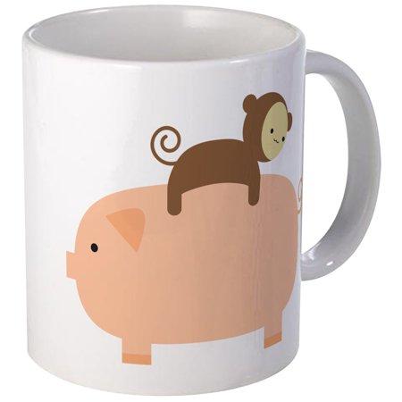 CafePress - Baby Monkey Riding Backwards On A Pig Mug - Unique Coffee Mug, Coffee Cup CafePress