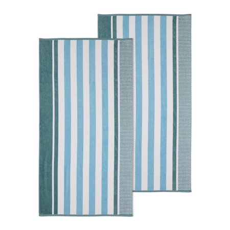 Superior 100% Cotton Oversized Checkered Striped Resort Beach towel