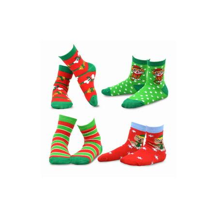 TeeHee Christmas Kids Cotton Fun Crew Socks 4-Pair Pack (6-8 Years, Cat & Dog)