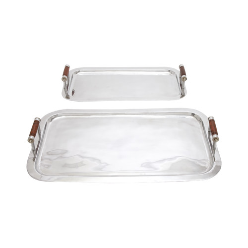 Woodland Imports 2 Piece Wood Handle Tray Set