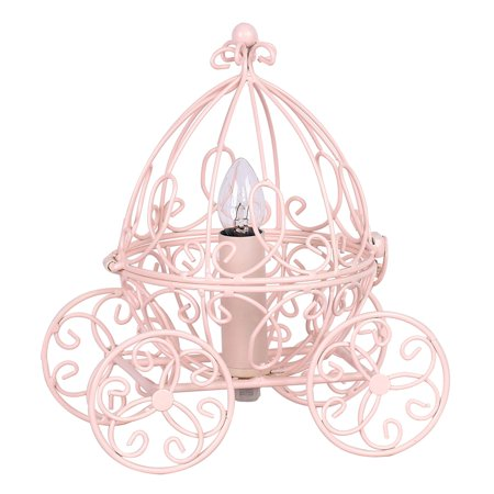 Grandview Gallery Princess Table Lamp - Pretty Carriage Lamp for Little Girl's Fairy Tale Cinderella Theme Bedroom, Pink