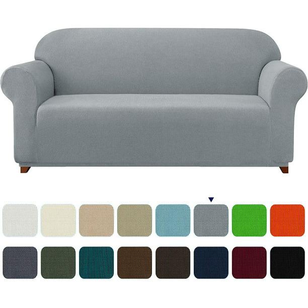 Subrtex Stretch 1 Piece Textured Grid, Light Grey Sofa Slipcover