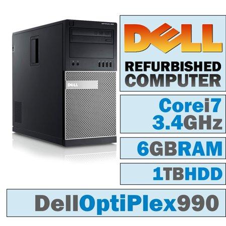 REFURBISHED Dell OptiPlex 990 MT/Core i7-2600 Quad @ 3.40 GHz/6GB DDR3/1TB HDD/DVD-RW/WINDOWS 10 PRO 64 BIT