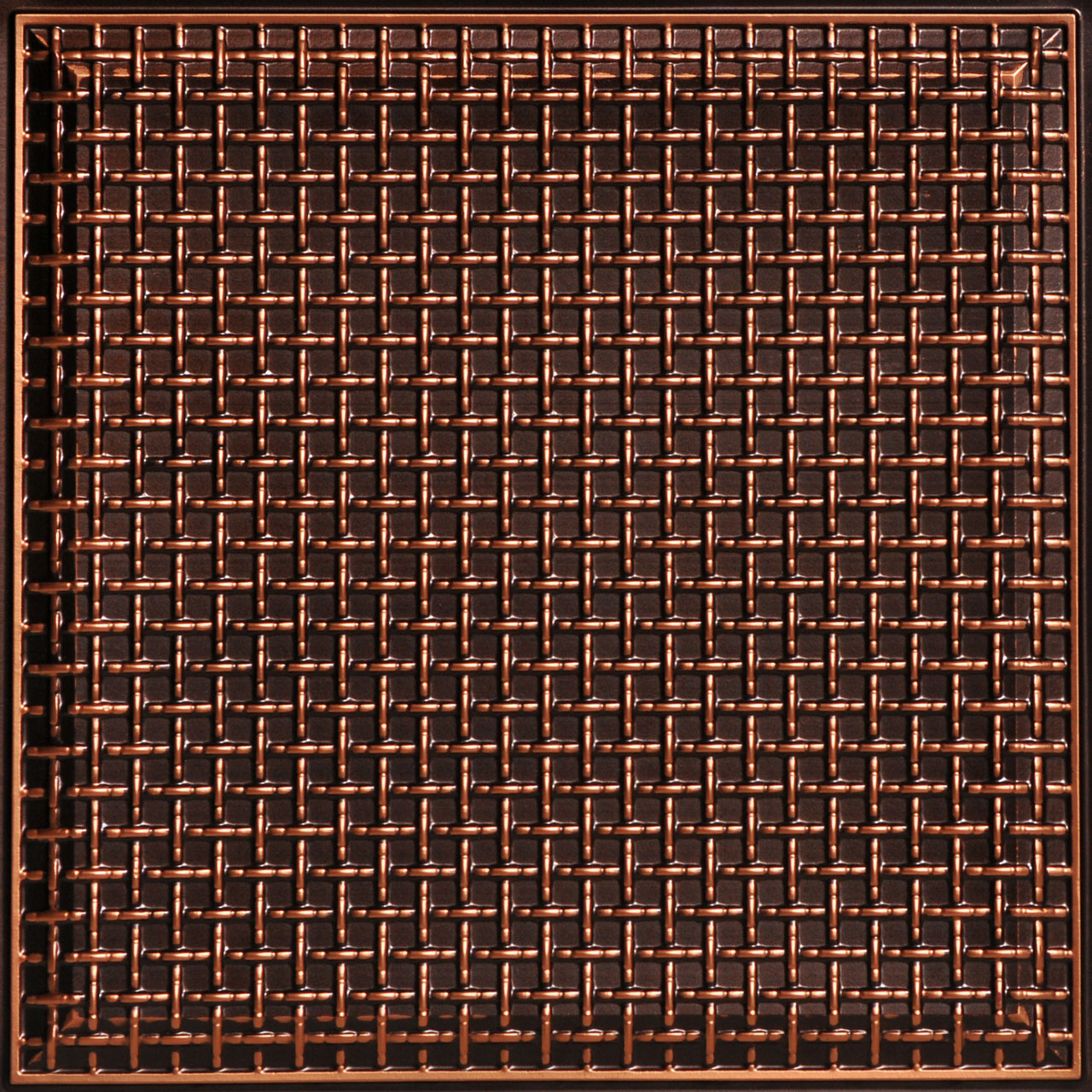 Rustic Lattice 2 ft. x 2 ft. PVC Glue-up or Lay in Ceiling Tile in Antique Copper