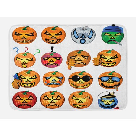 Halloween Bath Mat, Carved Pumpkin with Emoji Faces Halloween Inspired Humor Hipster Monsters Artwork, Non-Slip Plush Mat Bathroom Kitchen Laundry Room Decor, 29.5 X 17.5 Inches, Orange, - Non Carved Halloween Pumpkins