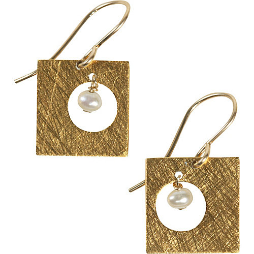 Zina Kao Exclusives Punched Square Earring w/Small Pearl