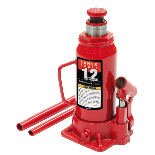 Sunex 4912A 12T Bottle Jack with Two-Piece Slip Fit Handle & Ductile Iron Base
